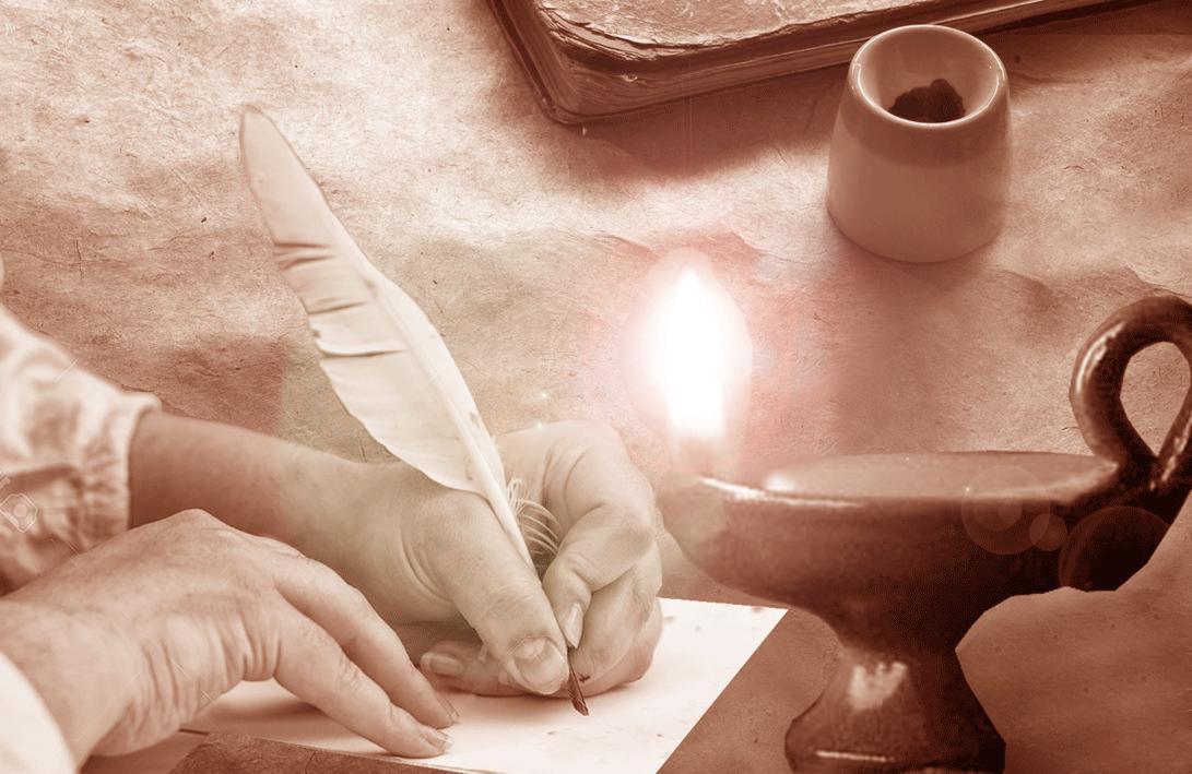 Mujer-escribiendo-a-la-luz-de-una-vela